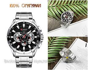 Оригинальные мужские часы c хронографом стальной ремешок Curren 8363 Silver-Black / Часы Курен