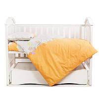 Дитяче змінне постільна білизна в дитяче ліжко Twins Comfort С-021 Горошки, помаранчева