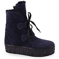 Удобные женские ботинки ( замшевые, синые, зимние, на толстой подошве, на шнурках)