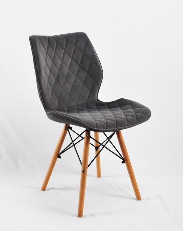 Обідній стілець Nolan Б-Т (Нолан) сірий оксамит на дерев'яних ногах