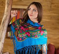 Женская украинская шаль с цветами (100х100см, голубой, 100%-акрил)
