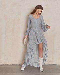 Платье женское маллет в цветочек AniTi 614, серо-голубой