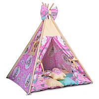 Вигвам детский, комплект Куклы с подушками, мягкий коврик. Детская палатка, шалаш игровой, вигвам