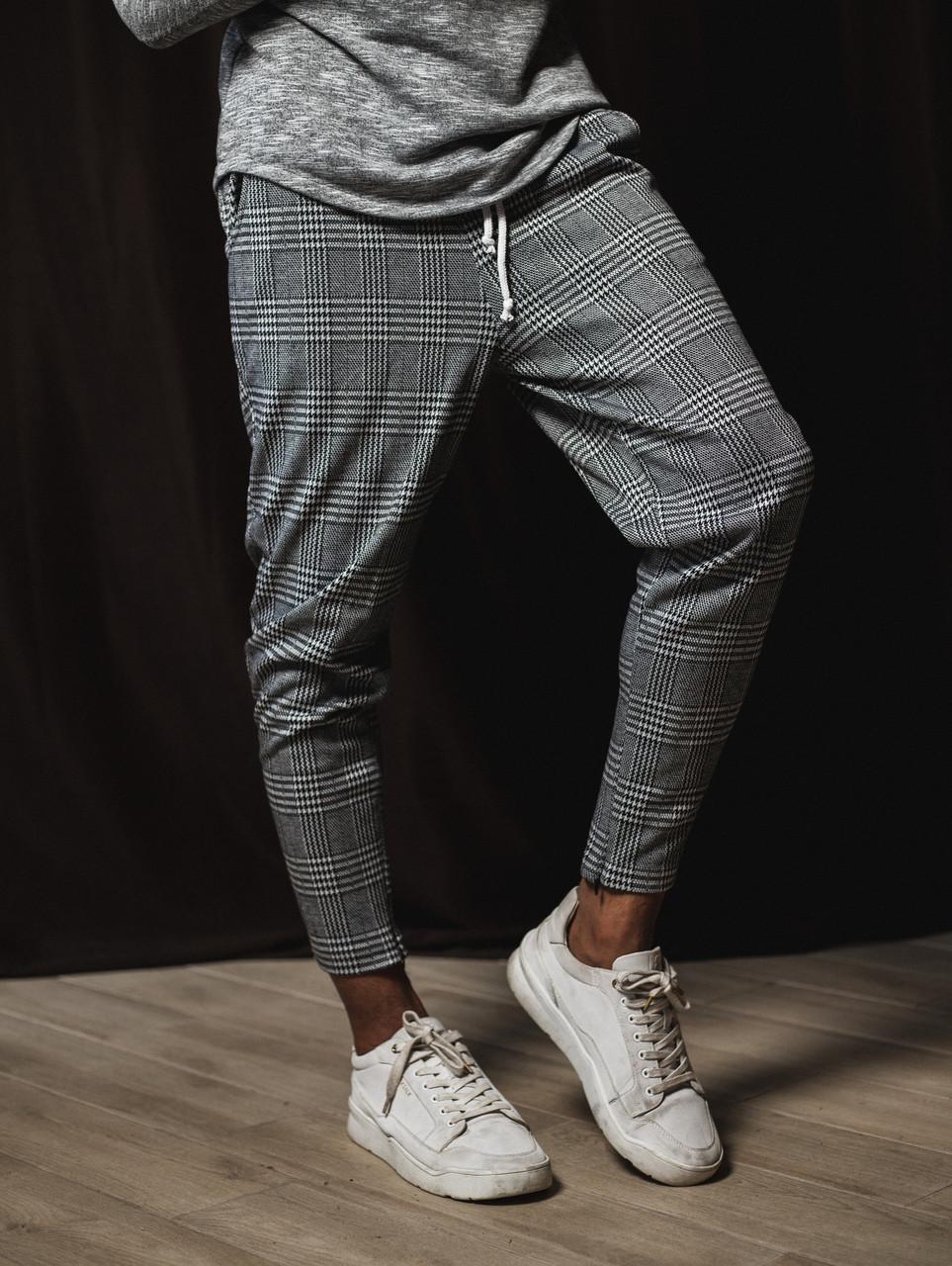Штани в клітку чоловічі сірі | весняні, осінні ЛЮКС якість