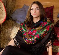 Модный украинский платок для женщин (100х100см, черный, 100%-акрил)