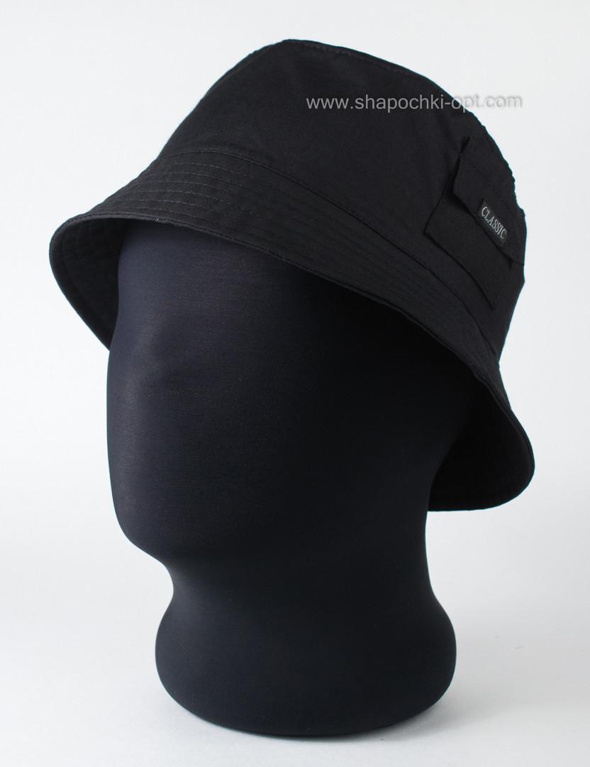 Панама чёрная с карманом из облегчённого хлопка 56-57  59-60 см