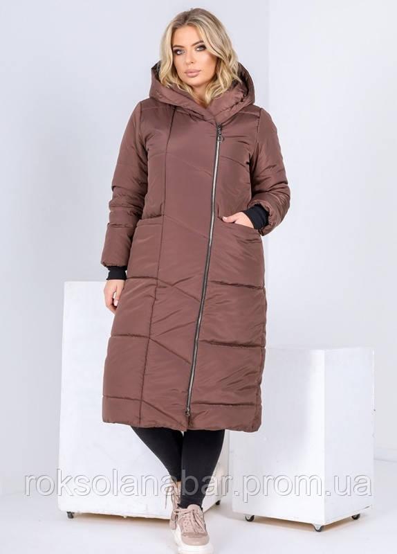 Пальто жіноче зимове з стьобаної плащової тканини в шоколадному кольорі