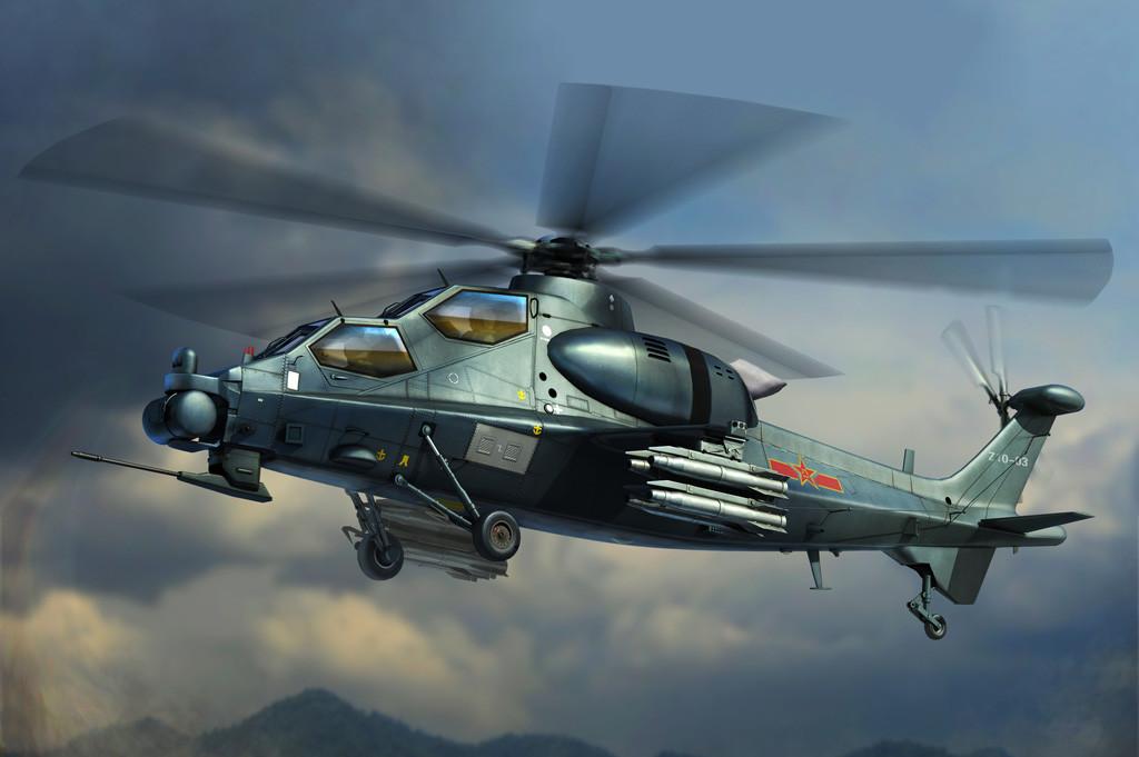 Китайский ударный вертолет Z-10. Сборная модель вертолета в масштабе 1/72. HOBBY BOSS 87253