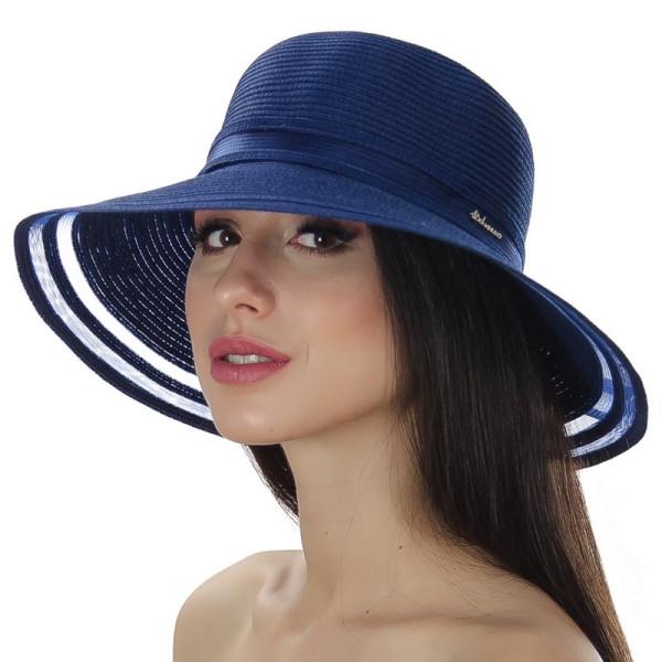 Синяя летняя шляпа поля средней ширины по краю прозрачные