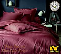"""Комплекти постільної білизни Колекції """"Elite Satin Stripe Vino Rosso"""". Страйп-Сатин (Туреччина). Бавовна 100%."""