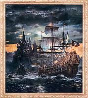 """Алмазная Мозаика на подрамнике . Набор алмазной вышивки на подрамнике """"Пиратский фрегат"""". Размер 40*50 см."""