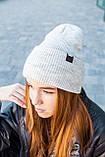 Шапка жіноча біні вовняна брендовий з підворотом двошаровий SHILA середня посадка колір світло сірий, фото 4