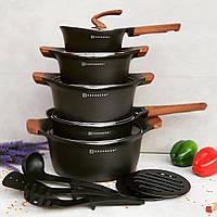Набор посуды из 15 предметов Edenberg EB-9184   Кастрюли сковороды ковш мраморное покрытие Черный