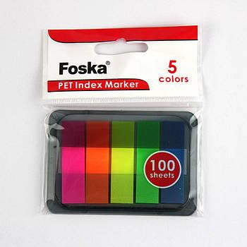 Клейкие закладки PET,12 х 45mm, 5 цветов х 20 листов
