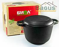 Кастрюля чугунная литая 4л с чугунной крышкой-сковородой, посуда чугунная Биол (0204)