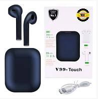 Беспроводные bluetooth наушники V99 Touch с кейсом Blue