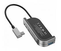 USB Хаб Baseus Bend Angle No.7 Multifunctional Type-C HUB Converter Сірий (CAHUB-WJ0G)