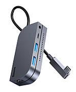 USB Хаб Baseus Bend Angle No.7 Multifunctional Type-C HUB Converter Сріблястий (CAHUB-CWJ0G)