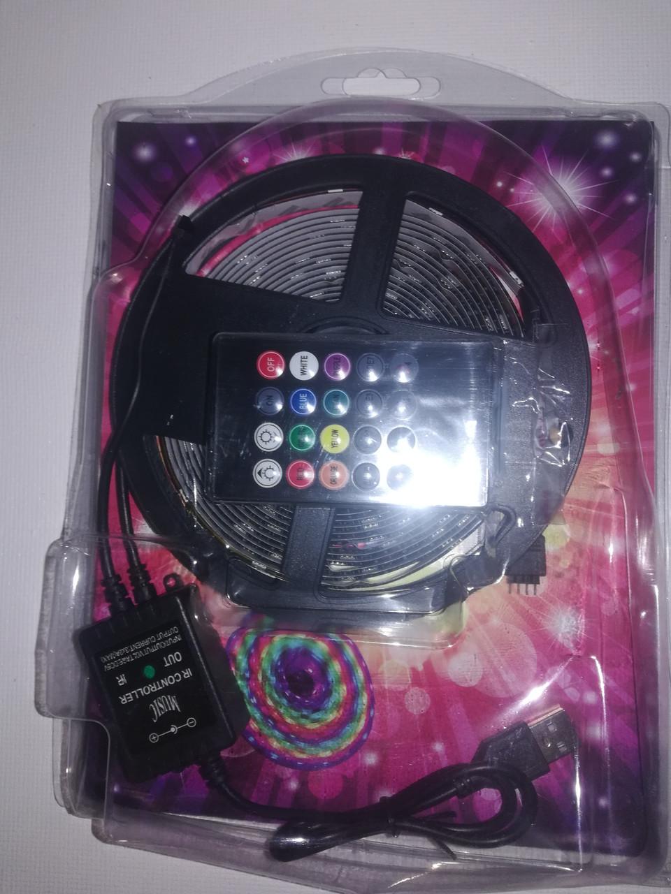 Комплект светодиодная лента 5050 RGB реагирует на звуки с котроллером управления и пультом