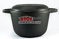 Кастрюля чугунная 4 л с чугунной крышкой сковородкой БИОЛ 0204. Чугунная посуда Биол
