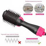 Фен щітка One Step Hair Dryer and Styler 3в1 | Стайлер для укладання волосся One Step 3в1| Гребінець з феном чорна, фото 4