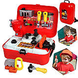 Дитячий ігровий набір інструментів у валізі | Портативний рюкзак Toy Tool Toy | ІГРОВИЙ НАБІР ДЛЯ ХЛОПЧИКІВ, фото 2