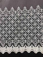 Елегантний молочний тюль з фатину з вишивкою молочного кольору на кімнат, висота 3 м, фото 2