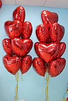 20 фольгированных красных сердечек