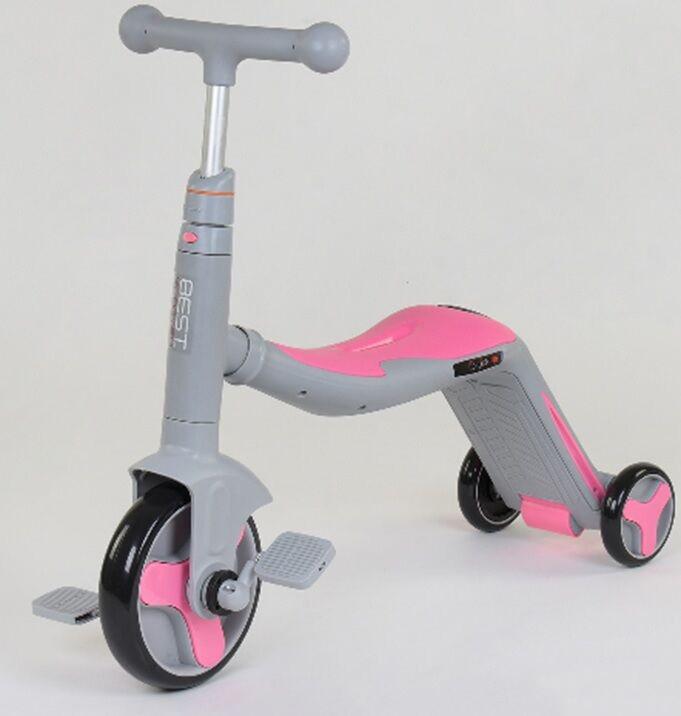 Детский самокат-велобег-велосипед 3 в 1 JT 90601 со световыми и звуковыми эффектами (8 песен), розовый