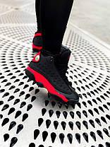 Мужские женские кроссовки Nike Air Jordan 13 Retro Bred Найк Аир Джордан 13 черные с красным 414571-004, фото 2