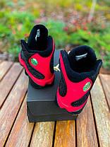 Мужские женские кроссовки Nike Air Jordan 13 Retro Bred Найк Аир Джордан 13 черные с красным 414571-004, фото 3