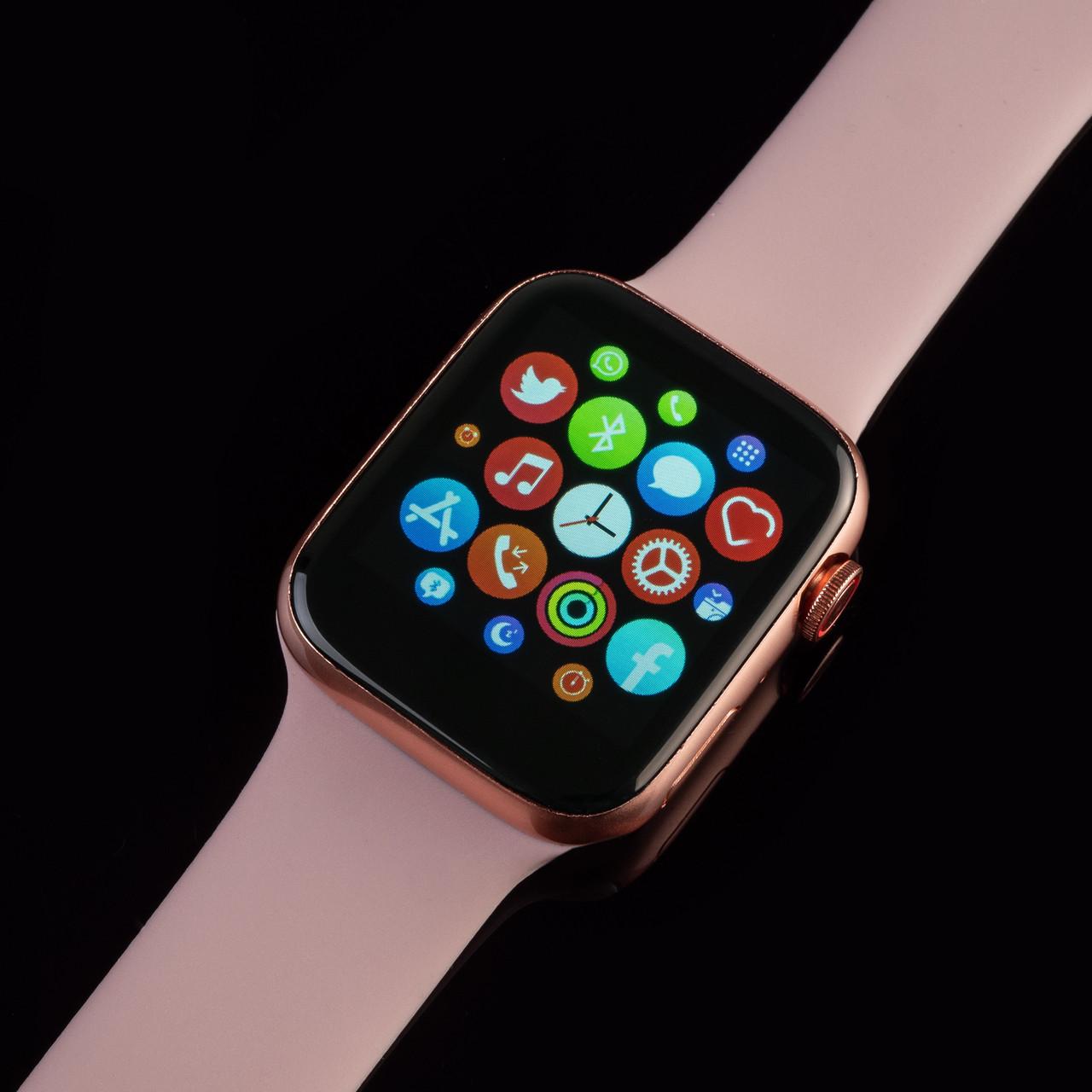 Смарт часы T500+ ( HiWatch 6). Розовый цвет.  Диагональ 1.75, умные часы, фитнес браслет.