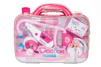 Набор доктора 6604AB в чемодане со светом и звуком, розовый