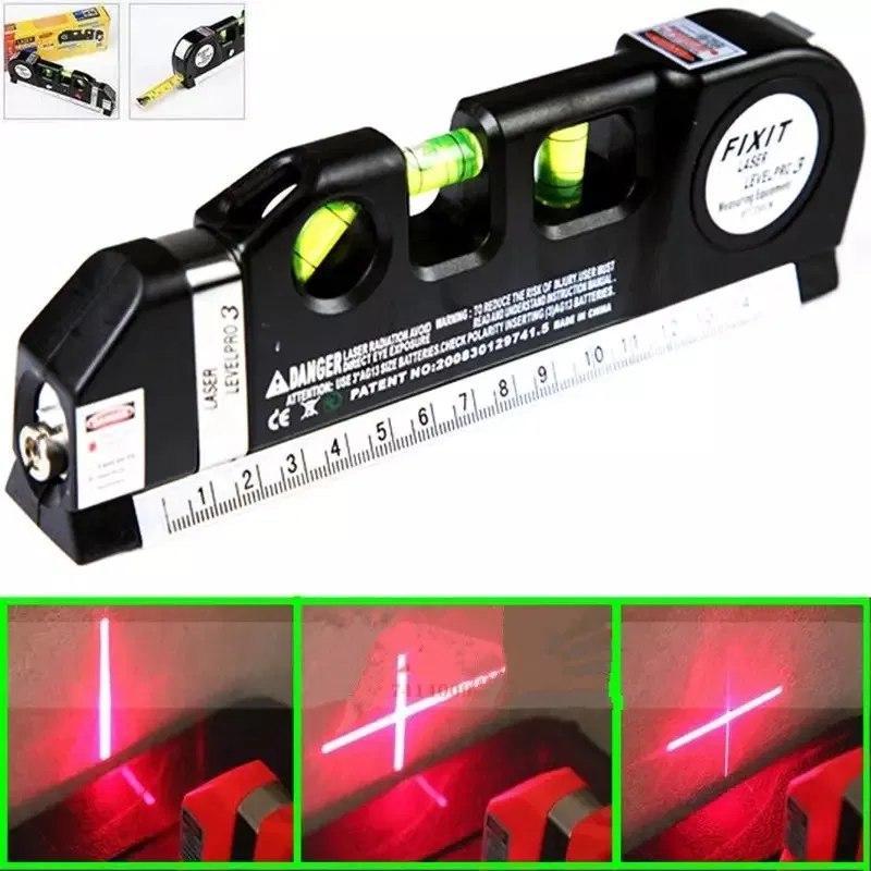 Лазерный уровень нивелир Fixit Laser Level Pro 3 + рулетка + жидкостный  уровень