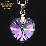 """Кулон BERNARDO BARETTI Серебро 925 с кристаллом Swarovski в футляре из бархата """"Сердце"""" (K010), фото 2"""