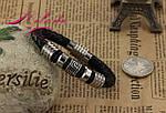 Браслет шкіряний зі вставками із сталі., фото 3