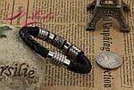 Браслет шкіряний зі вставками із сталі., фото 5