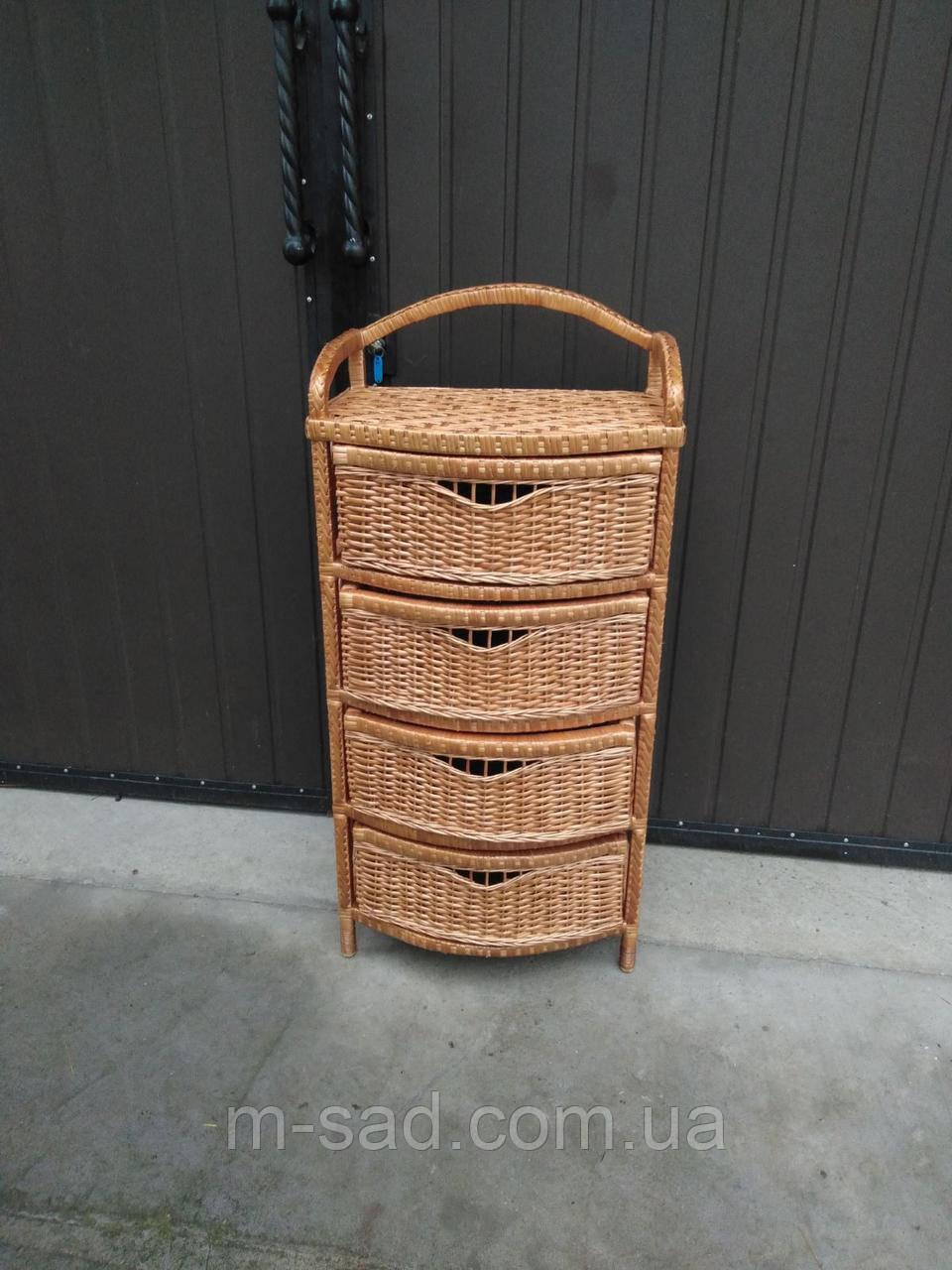 Комод плетеный на 4 ящика