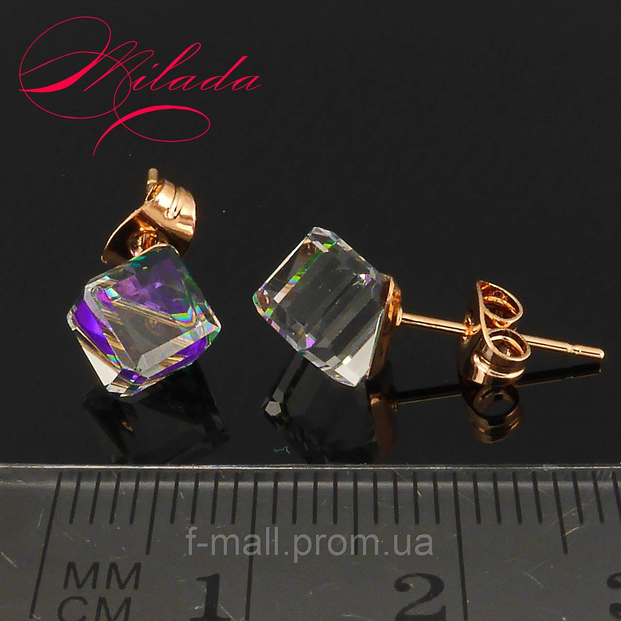 Сережки з кристалами SWAROVSKI, позолота 18-К.