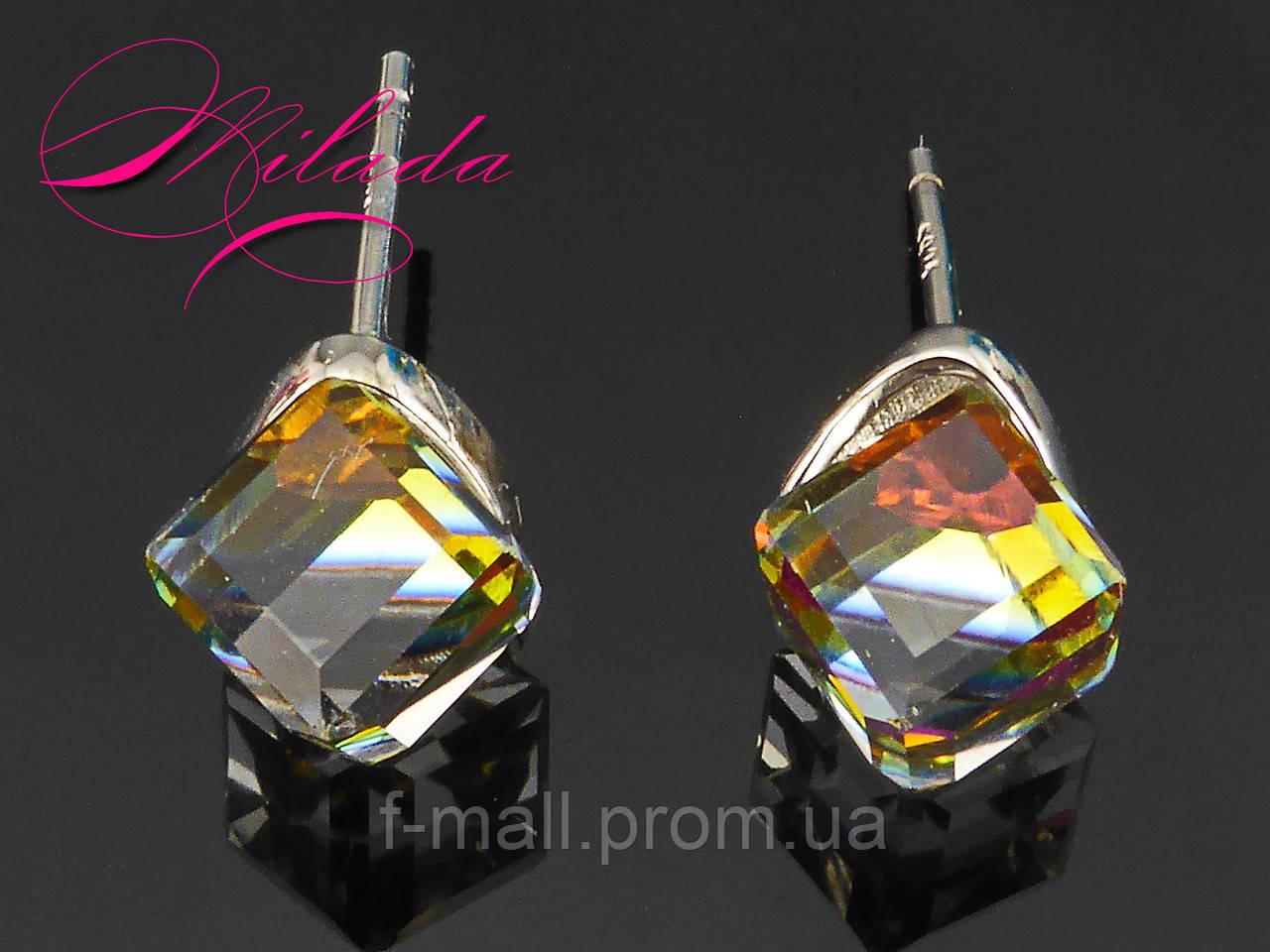 """Сережки з кристалами SWAROVSKI,срібло 925 проби,""""Хамелеон""""."""