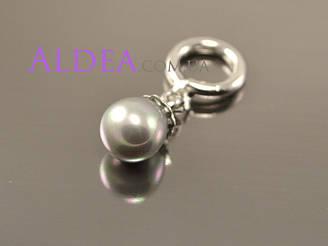Підвіска Перлова темна крапля для браслети, срібло
