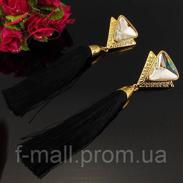 """Довгі сережки """"пензлика"""" з кристалом SWAROVSKI"""