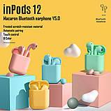 Беспроводные наушники  InPods 12 Macaron Голубые в стиле Apple AirPods сенсорные с кейсом, фото 9