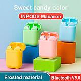 Беспроводные наушники  InPods 12 Macaron Голубые в стиле Apple AirPods сенсорные с кейсом, фото 10