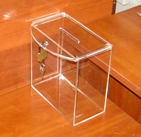 Ящик для пожертвований 200х103х200 Материал акрил 2мм прозрачное предусмотрено ушко для подвеса