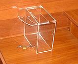 Ящик для пожертвований 200х103х200 Материал акрил 2мм прозрачное предусмотрено ушко для подвеса, фото 3