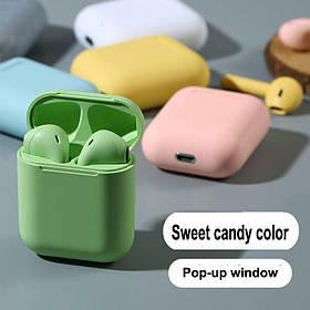 Беспроводные наушники  In Pods 12 Macaron Зелёные в стиле Apple AirPods сенсорные с кейсом