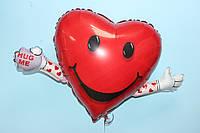 Фольгированная фигура сердечко смайлик