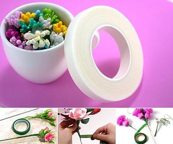 Флористическая тейп лента 12 мм молочная 30 метров для рукоделия, декорирования и творчества молочный