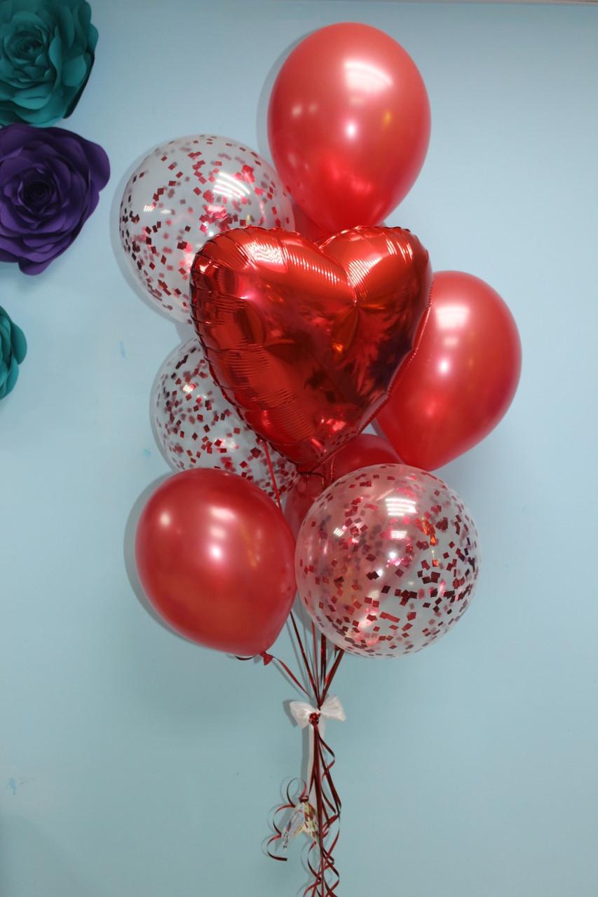 Красные шарики металлик, с конфетти и сердечко